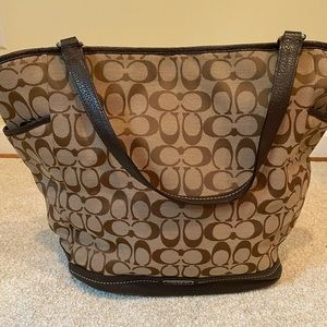 Coach brown and tan bag with leather straps